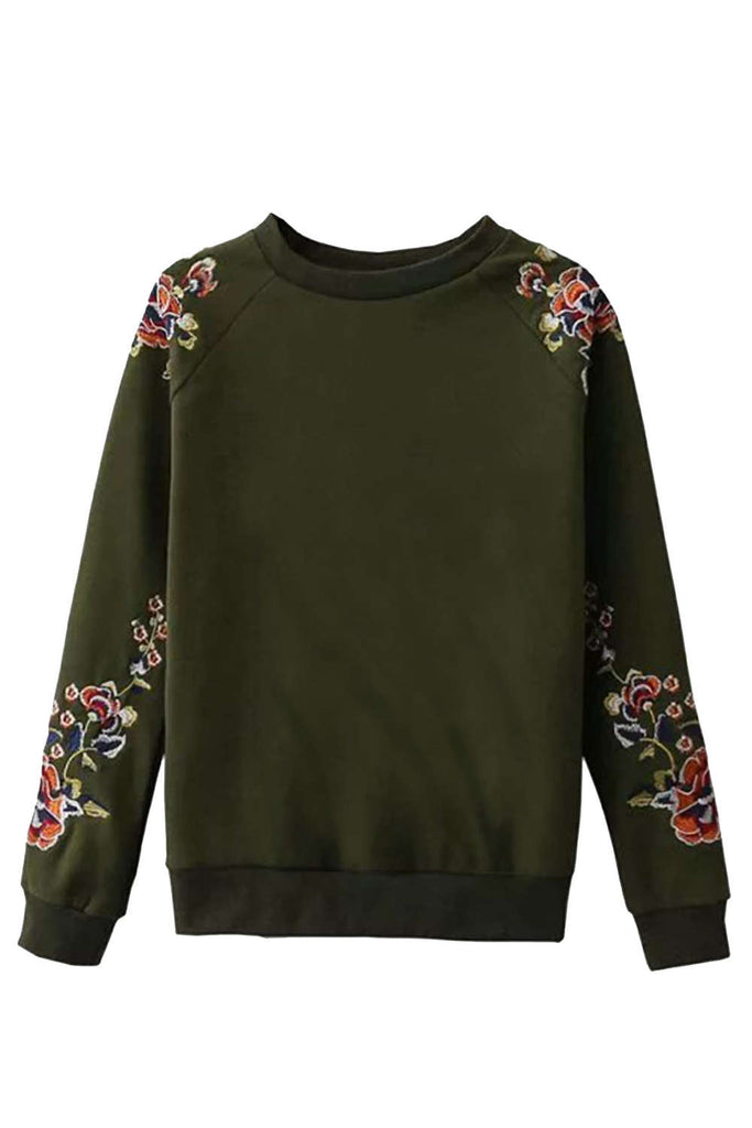 Iyasson Floral Embroidered Crew Neck Sweatshirt