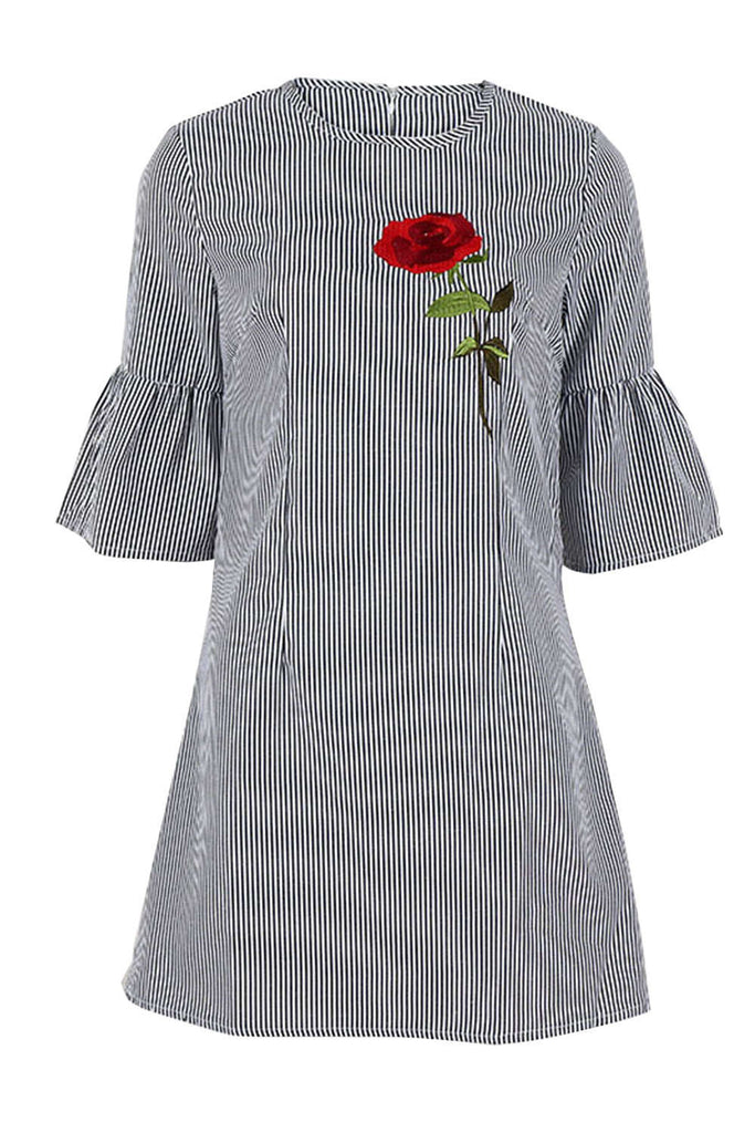 Iyasson Bell Sleeve Rose Embroidery A-Line Dress