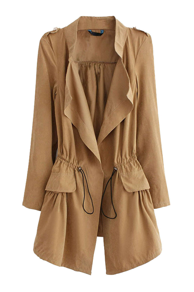 Iyasson Drawstring Waist Relaxed Trench Coat