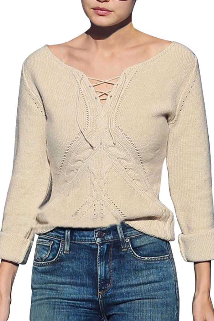 Iyasson V-Neck Long Sleeve Casual Knit Sweater