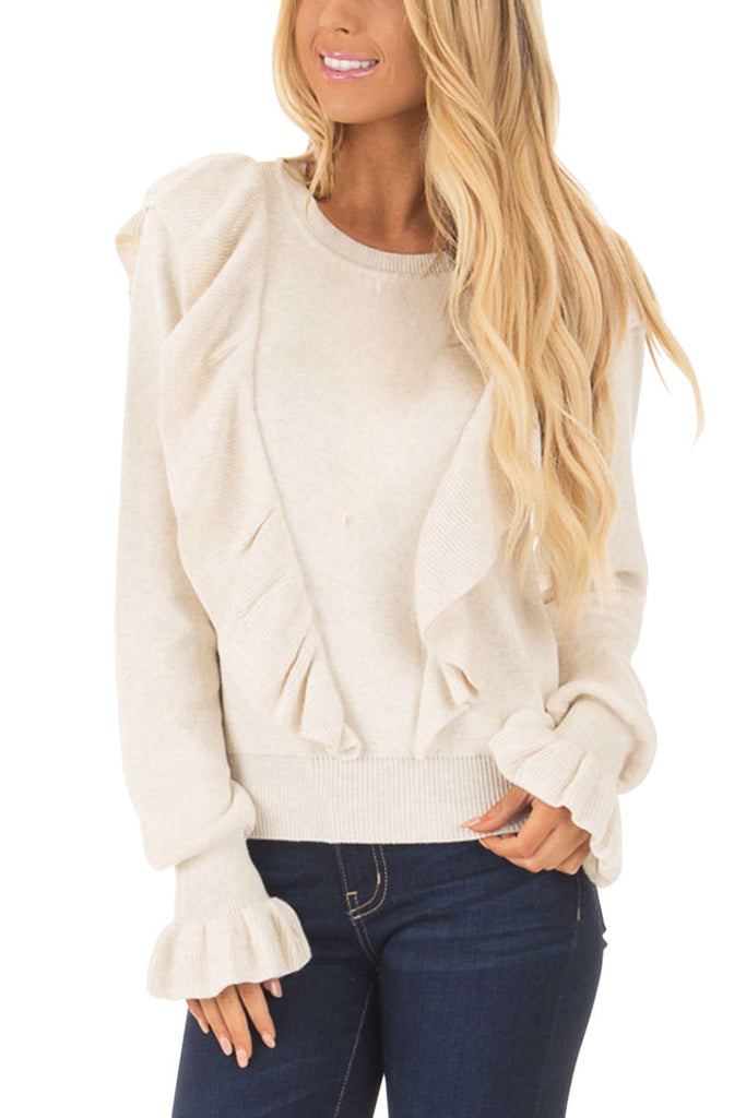Iyasson Long Sleeve Ruffle Sweater