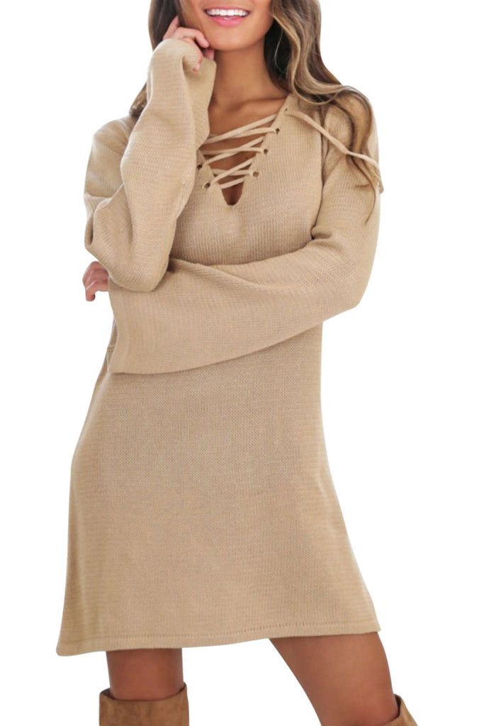 Iyasson Criss Cross V Neck Short Sweater Dress