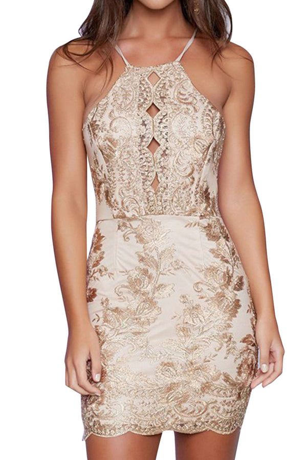 Iyasson Sexy Lace Backless Short Dress