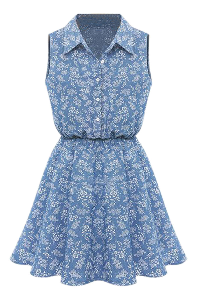 Iyasson Floral Print Sleeveless Half Buttoned Shirt Dress