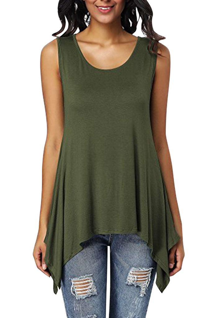Iyasson Womens Scoop Neck Unbalanced Loose Fit Sleeveless Tunic Top