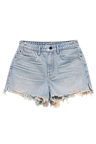 Iyasson Women's Ripped Fringe Hem High Waist Plain Hot Denim Shorts