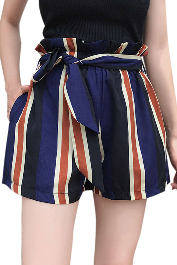 Iyasson Shirred Frill Trim Slef Tie Striped Shorts