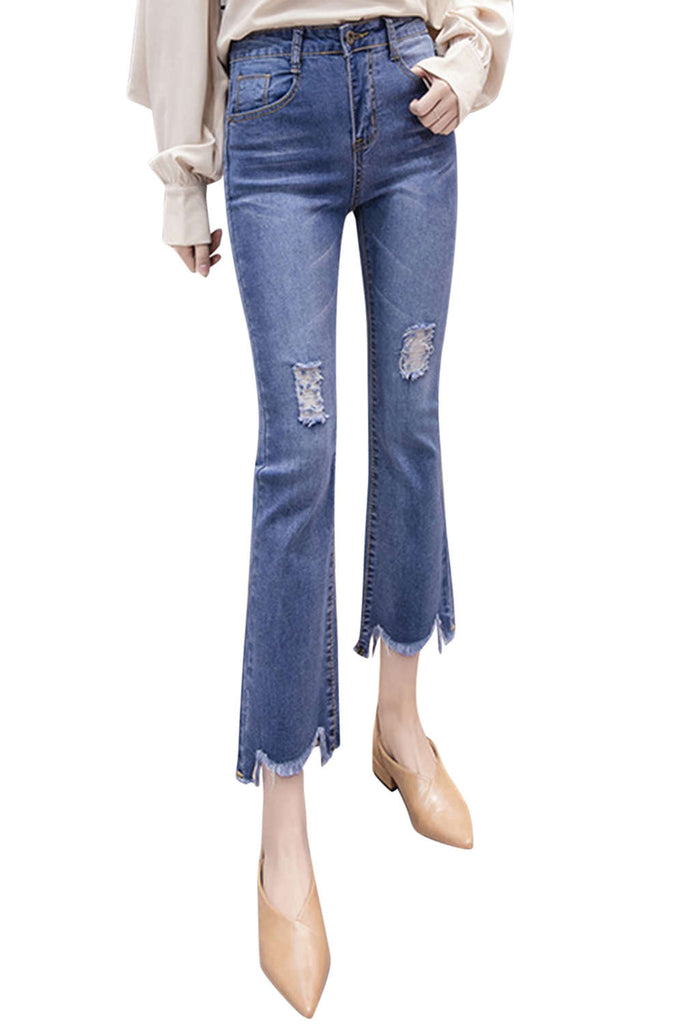 Iyasson Women's High Rise Staight Leg Jeans