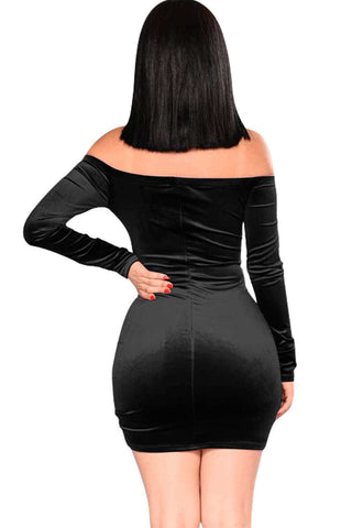 Iyasson Velvet Off-the-shoulder Long Sleeve Bodycon Dress