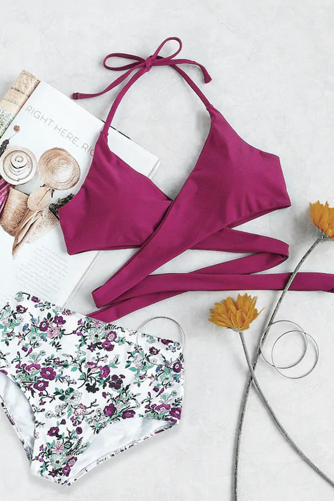 Halter Wrap Top With Floral Print Bikini Set
