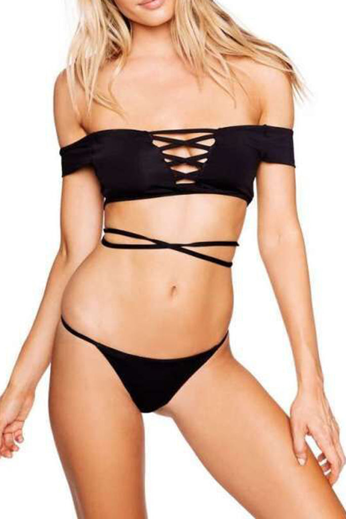Iyasson Black Off-the-shoulder Strappy Bikini Sets