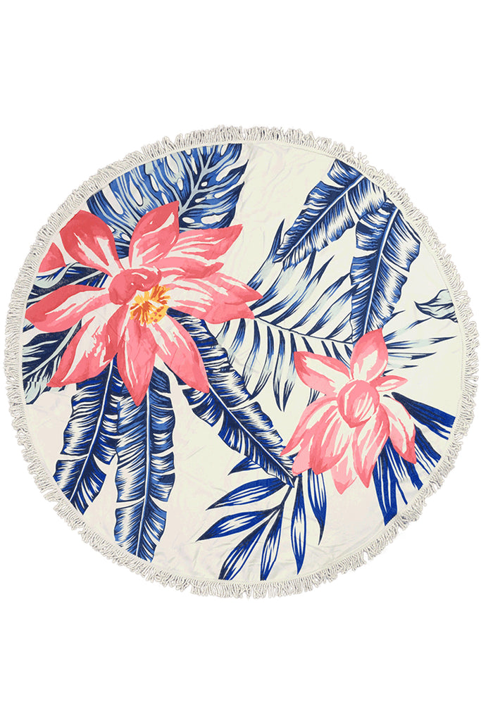 Iyasson Tropical Printing Floral Print Round Beach Blanket