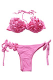 Iyasson Creamy Pink 3D Blooming Flower  Bikini Set