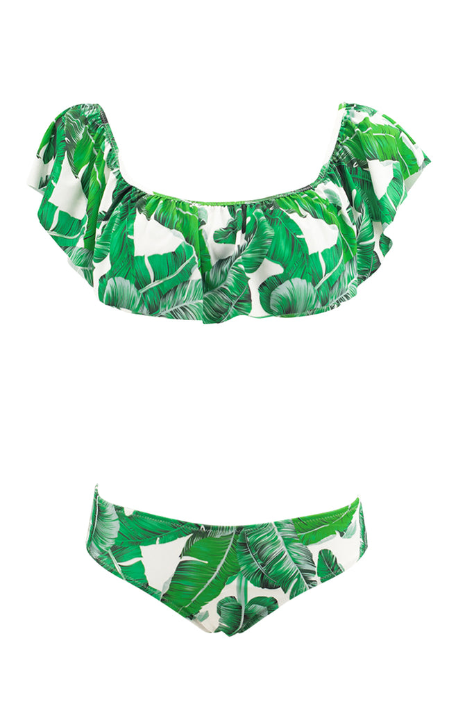 Iyasson Tropical Leaves Print Two piecies swimsuits