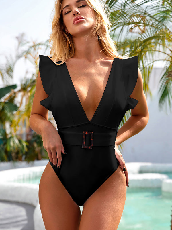 Iyasson 2021 Sexy Vintage Deep-V Ruffles Belt One piece Swimsuit