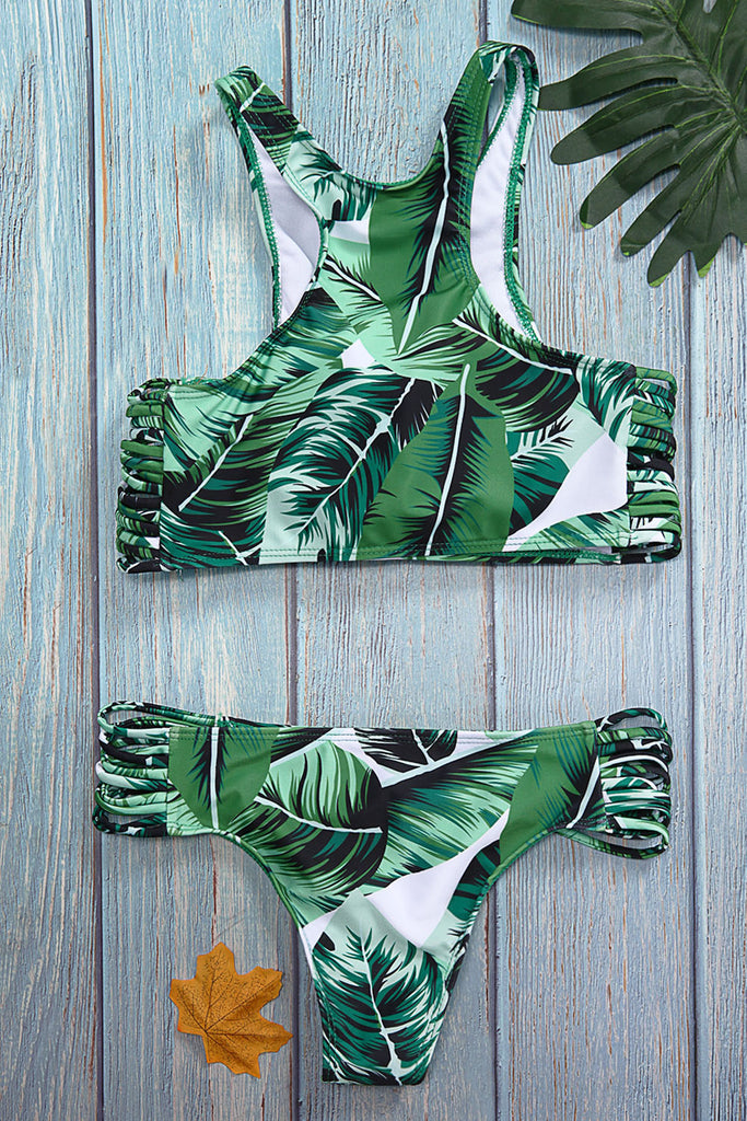 Iyasson Fashion Leaves Printing Bikini Set