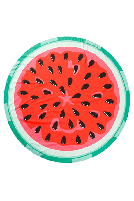 Iyasson Cute Watermelon Printing Round Beach Blanket