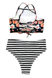 Iyasson Black Floral Printing Tank Top Bikini Sets