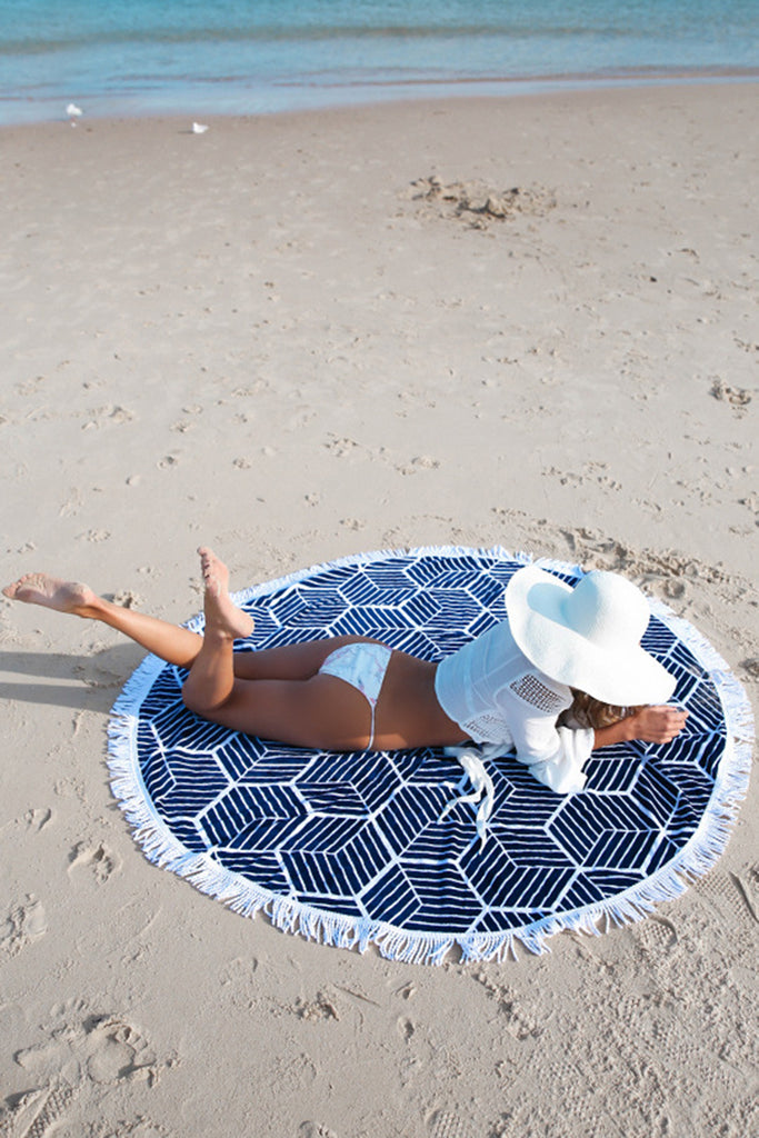 Iyasson Trendy Tassel Ornament Geometric Pattern Print Round Beach Blanket