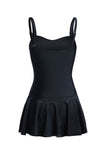 EZI Black Close-fitting With Shirring One-piece Swimsuit