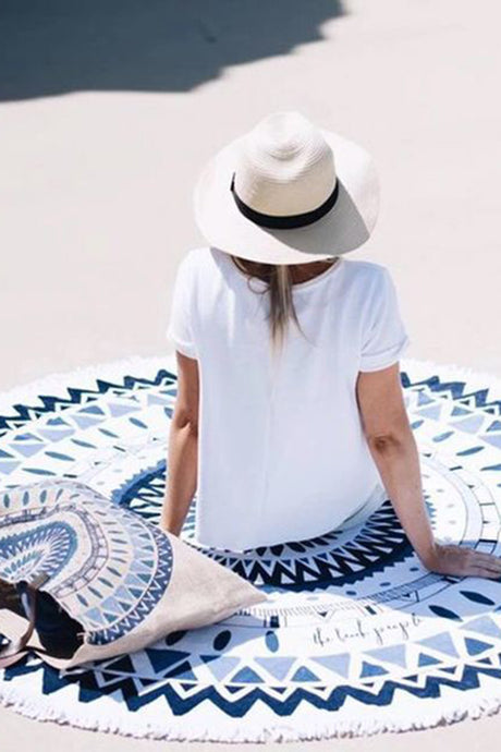 Iyasson Trendy Tassel Ornament Printing Round Beach Blanket