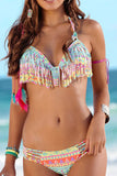 Iyasson Colorful Printing Tassel Halterneck Bikini Set