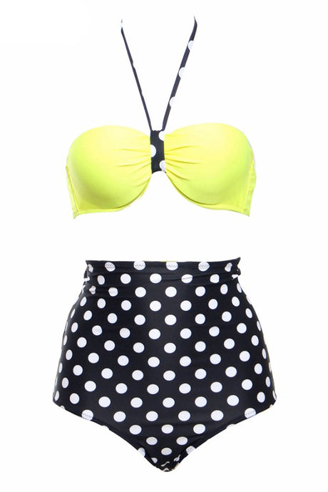 Iyasson Coin dot Printing Vintage bathing suits