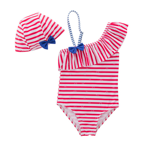 Iyasson Stripe Pattern Falbala Baby Girl Swimsuit