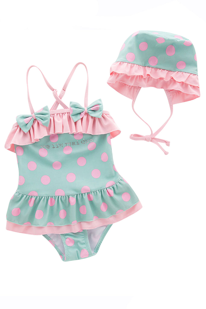 Iyasson Polka Dot Printing Baby Girl Swimsuit With Sweet Bow