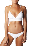 Iyasson White Triangle Top Bikini Sets