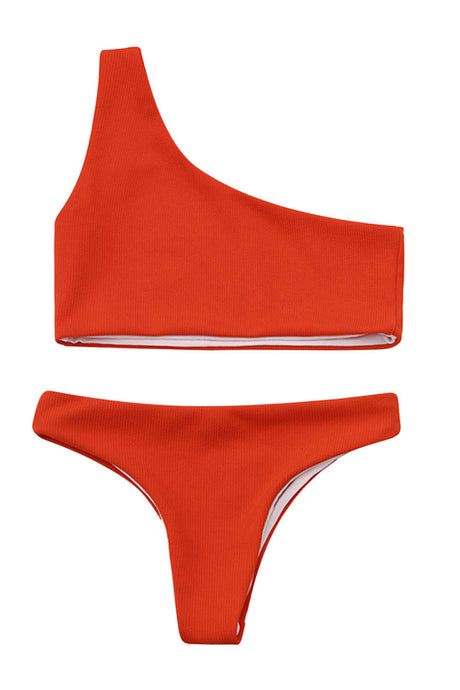 Iyasson Solid Color One-shoulder Bikini Sets