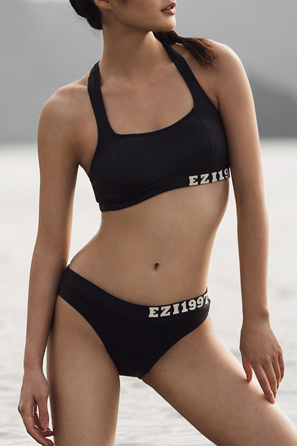 EZI Black Trendy Sport Style With Back Zipper Bikini Sets