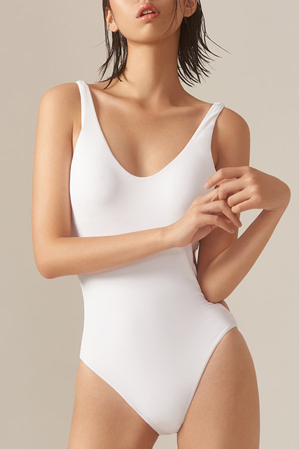 EZI Vintage Solid color Hollow out One-piece Swimsuit