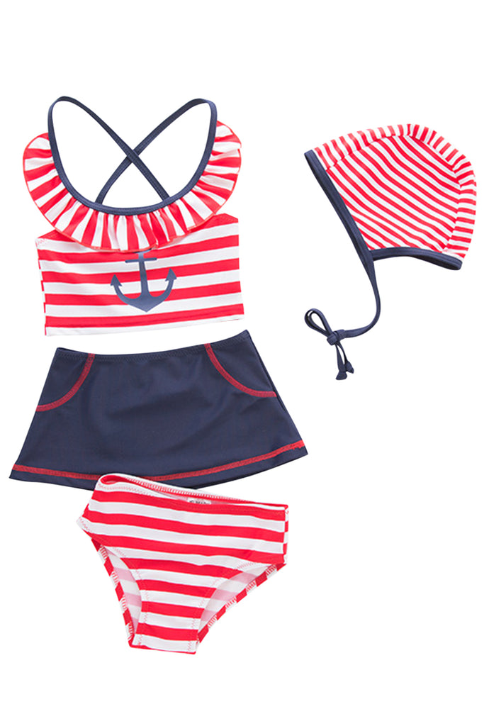 Iyasson Red Stripe Splicing Printing Back Cross Baby Girl Bikini Sets