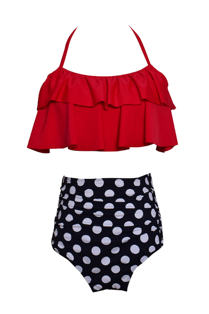 Iyasson Vintage Falbala With High Waisted Bathing Suits