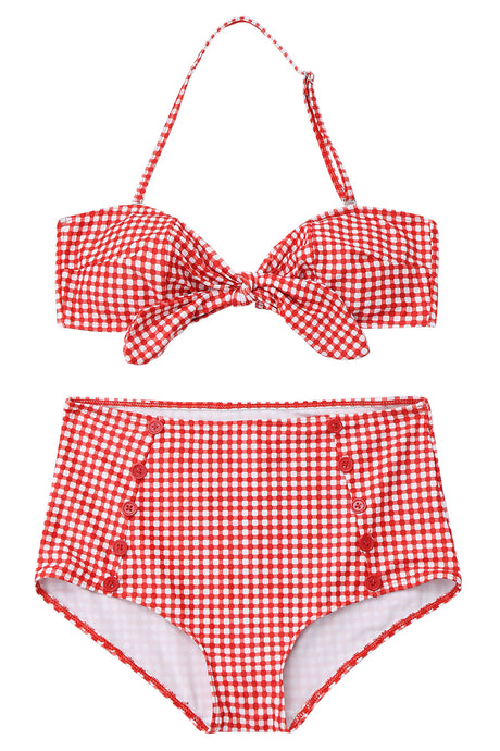 Iyasson Red Plaid High-waisted Bikini Sets