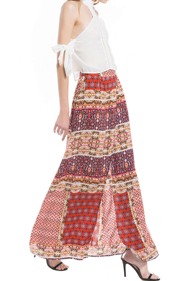 Iyasson Boho Long Printed Red Chiffon Skirt