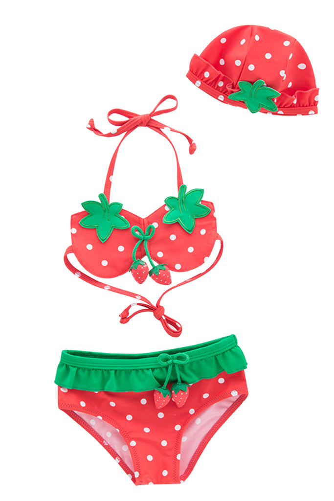 Iyasson Strawberry Printing Flounce Baby Girl Bikini Sets
