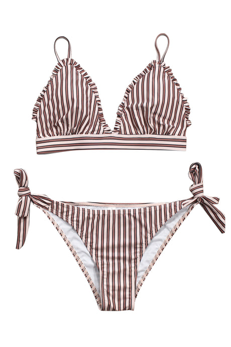 Iyasson Stripe Splicing Printing With Ruffles Bikini Sets