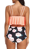StarTreene Women's Swimsuit Two Pieces Bathing Suit Ruffled Racerback Top High Waisted Bottom Tankini Set
