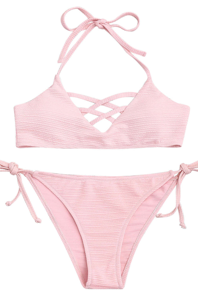Iyasson Creamy Pink Cross Design Halter Bikini Swimwear