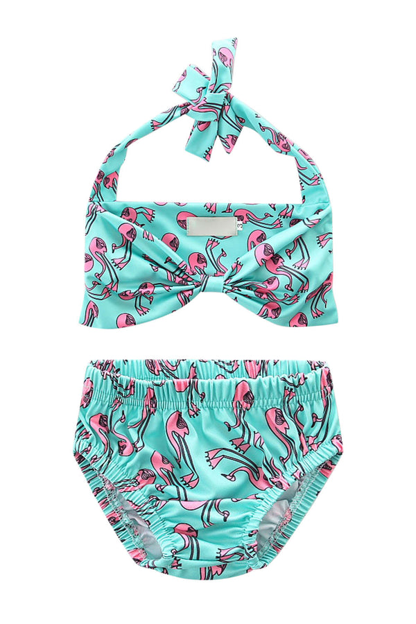 Iyasson Blue flamingo bathing suit For Baby Girl