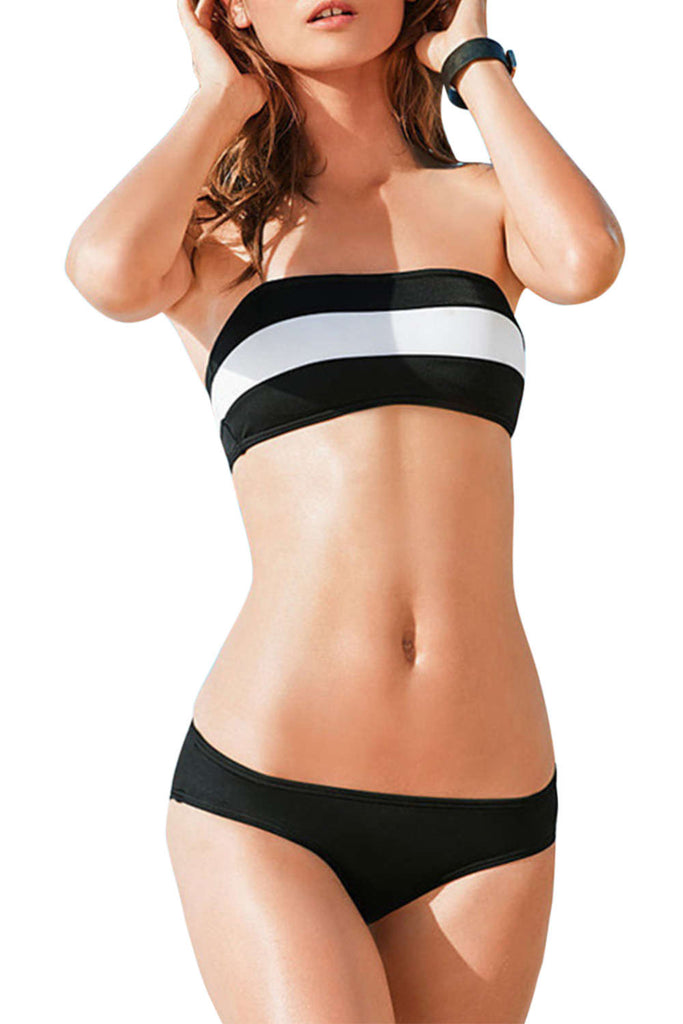 Iyasson Stripe Printing Strapless Bikini Sets
