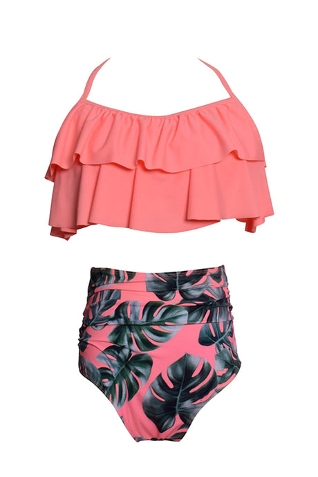 Iyasson Pink Vintage Falbala With High Waisted Bathing Suits