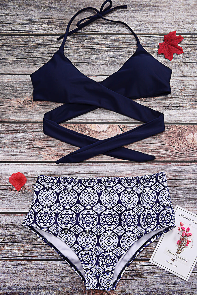 Iyasson  Front Cross High-Waisted Bikini Set