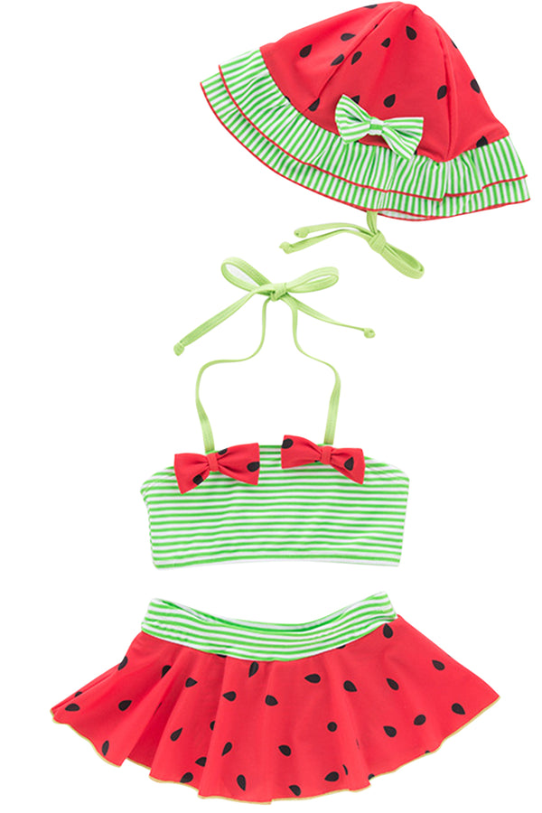 Iyasson Watermelon Printing Baby Girl Bikini Sets
