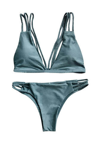 Iyasson Olive Green Two-piece Swimwear with Totally Handmade Multi-Straps