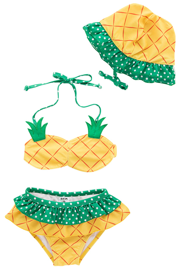 Iyasson Pineapple Printing Baby Girl Bikini Sets