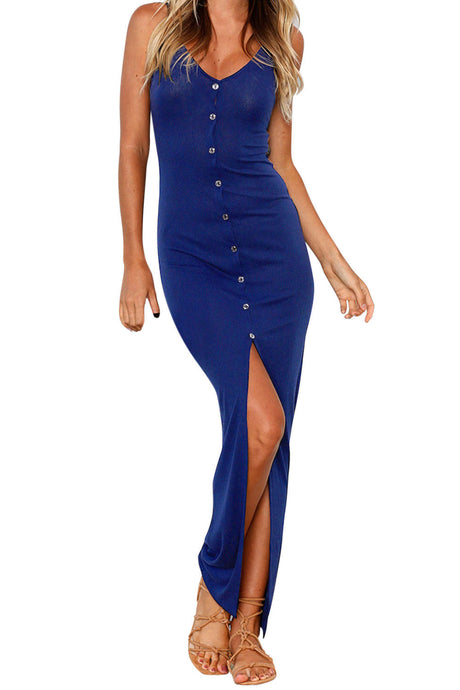 Iyasson Deep V Backless Button Up Bodycon Maxi Dress