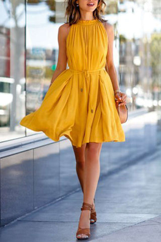 Iyasson Yellow Sleeveless Waist Tied Dress